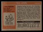 1972 Topps #11  Syl Apps  Back Thumbnail