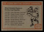 1972 Topps #176   Conn Smythe Trophy Back Thumbnail