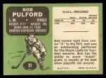 1970 Topps #36  Bob Pulford  Back Thumbnail