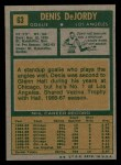 1971 Topps #63  Denis DeJordy  Back Thumbnail