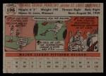 1956 Topps #196  Tom Poholsky  Back Thumbnail