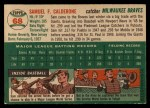 1954 Topps #68  Sammy Calderone  Back Thumbnail