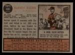 1962 Topps #480  Harvey Kuenn  Back Thumbnail