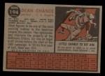 1962 Topps #194 GRN Dean Chance  Back Thumbnail