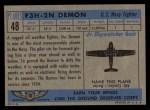 1957 Topps Planes #48 BLU  F3h-2N Demon Back Thumbnail
