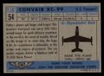 1957 Topps Planes #54 BLU  Convair Xc-99 Back Thumbnail