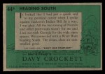 1956 Topps Davy Crockett Green Back #44   Heading South  Back Thumbnail