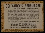1958 Topps TV Westerns #39   Yancy's Persuader  Back Thumbnail