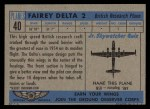 1957 Topps Planes #40 BLU  Fairey Delta 2 Back Thumbnail