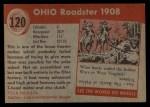1954 Topps World on Wheels #120   Ohio Roadster 1908 Back Thumbnail