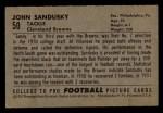 1952 Bowman Small #50  John Sandusky  Back Thumbnail