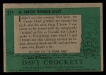 1956 Topps Davy Crockett Green Back #21   A Shot Rings Out  Back Thumbnail