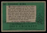 1956 Topps Davy Crockett Green Back #59   Rough Ride  Back Thumbnail