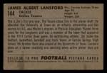 1952 Bowman Small #144  Jim Lansford  Back Thumbnail