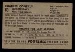1952 Bowman Small #63  Charley Conerly  Back Thumbnail