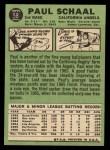 1967 Topps #58 GRN Paul Schaal  Back Thumbnail