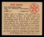 1950 Bowman #134  Pete Pihos  Back Thumbnail