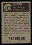 1951 Topps Ringside #64  Ray Miller  Back Thumbnail