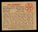 1950 Bowman #109  Sid Gordon  Back Thumbnail