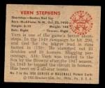 1950 Bowman #2  Vern Stephens  Back Thumbnail