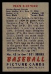 1951 Bowman #42  Vern Bickford  Back Thumbnail