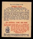 1949 Bowman #9  Ferris Fain  Back Thumbnail