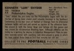 1952 Bowman Small #22  Ken Snyder  Back Thumbnail