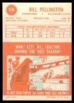 1963 Topps #10  Bill Pellington  Back Thumbnail