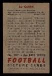1951 Bowman #107  Ed Quick  Back Thumbnail