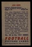1951 Bowman #22  Joe Geri  Back Thumbnail