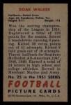 1951 Bowman #25  Doak Walker  Back Thumbnail