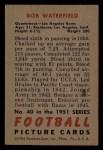 1951 Bowman #40  Bob Waterfield  Back Thumbnail