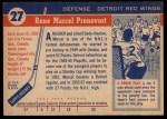 1954 Topps #27  Marcel Pronovost  Back Thumbnail