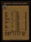 1973 Topps #521   Braves Team Back Thumbnail
