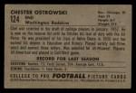 1952 Bowman Small #124  Chet Ostrowski  Back Thumbnail