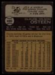 1973 Topps #490  Claude Osteen  Back Thumbnail