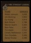 1973 Topps #478   -  Walter Johnson All-Time Strikeout Leader Back Thumbnail