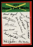 1974 Topps Red Team Checklist   Mets Team Checklist Front Thumbnail