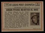 1972 Topps #430   -  Bob Robertson In Action Back Thumbnail