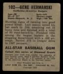 1948 Leaf #102 COR Gene Hermanski  Back Thumbnail