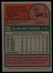 1975 Topps #501  Bill Robinson  Back Thumbnail