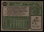 1974 Topps #293  Milt May  Back Thumbnail