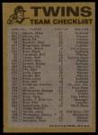 1974 Topps Red Team Checklist   Twins Team Checklist Back Thumbnail