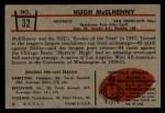 1953 Bowman #32  Hugh McElhenny  Back Thumbnail