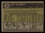 1961 Topps #305  Mike McCormick  Back Thumbnail