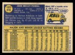 1970 Topps #410  Boog Powell  Back Thumbnail