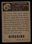 1951 Topps Ringside #34   -  Sugar Ray Robinson / Marty Servo Robinson vs Servo Back Thumbnail