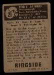 1951 Topps Ringside #21  Tony Janiro  Back Thumbnail