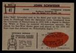 1953 Bowman #41  John Schweder  Back Thumbnail
