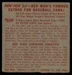 1953 Red Man #17 AL x Bob Lemon  Back Thumbnail